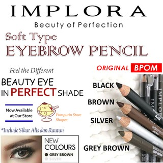 IMPLORA Pensil Alis 2in1 - Soft Type Eyebrow Pencil Original BPOM