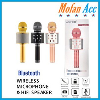 MIC WSTER WS 858 Wireless Bluetooth Karaoke + Speaker Microphone Portable Smule WS858 Karoke