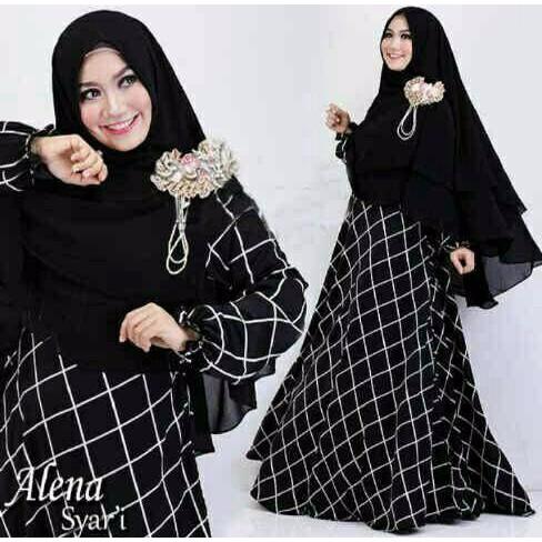 **PROMO** Alena Syar'i Hitam Busana Muslim Wanita Terbaru Gamis Terbaru