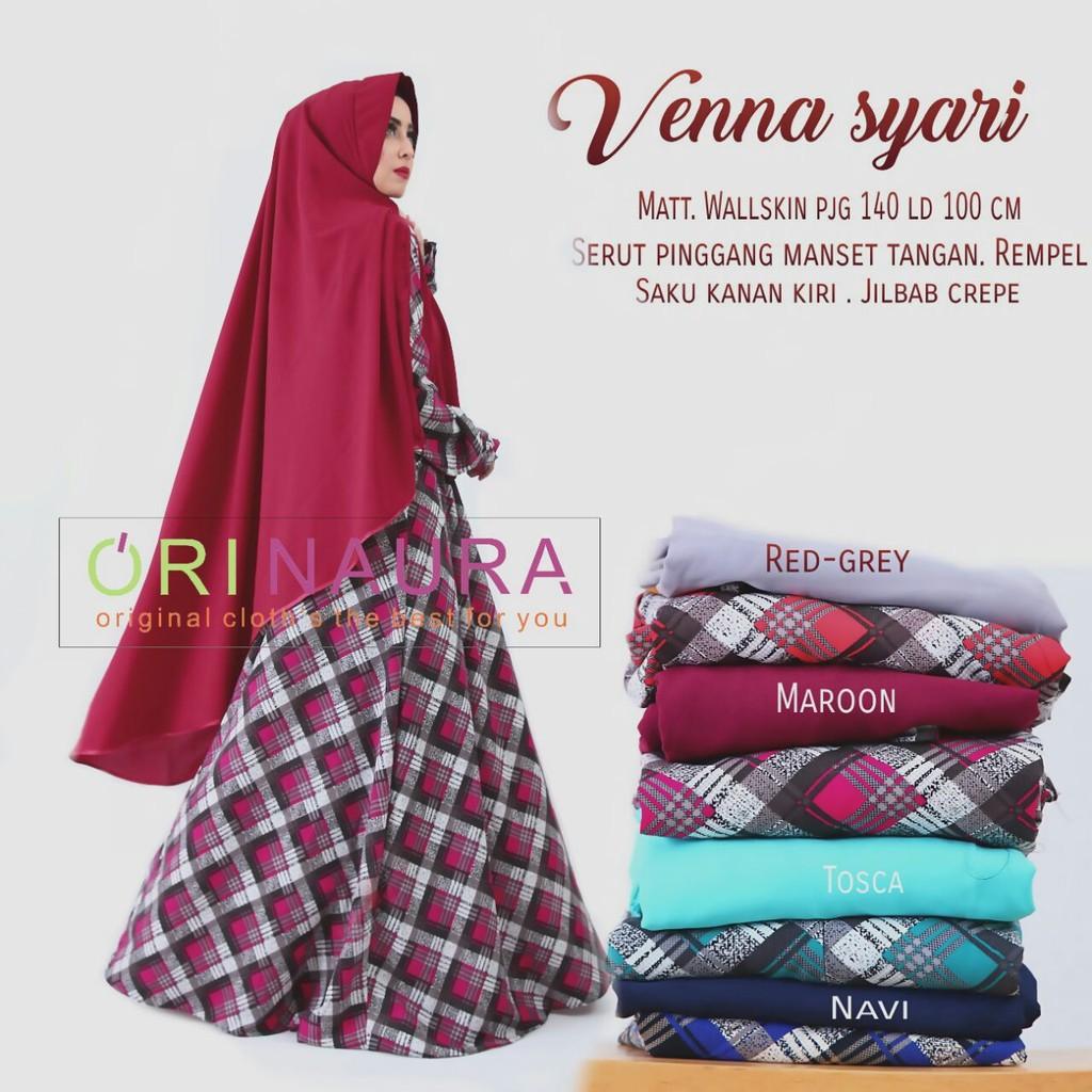 ori Gamis Syari Wanita Baju Pesta Muslim Modern Abaya Bunga VENNA