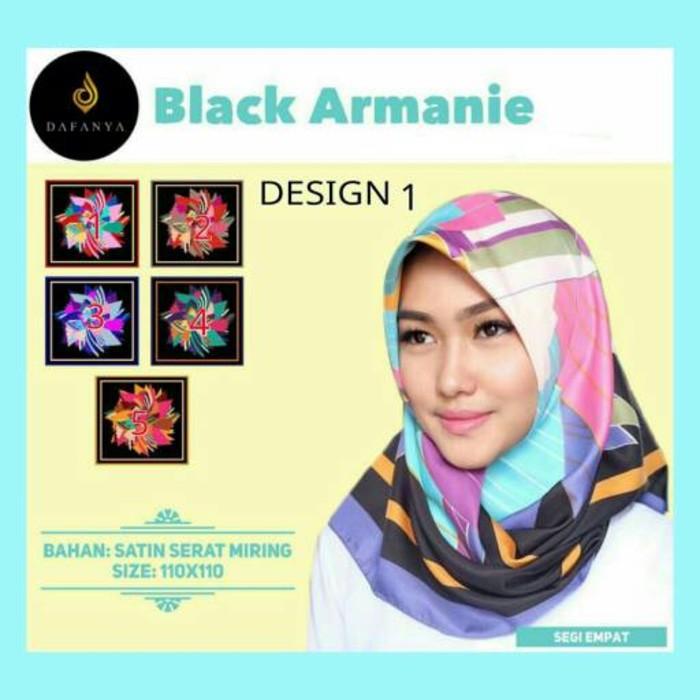 Terbaru Hijab Kerudung Jilbab Segi Empat Black Armanie Desain 1 Jlms01 Bahan Halus