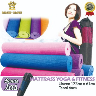 (KK) Matras Yoga/ Yoga Mat PREMIUM TEBAL 6 MM Uk 61 x 173 CM (BONUS TAS ) ANTI SLIP