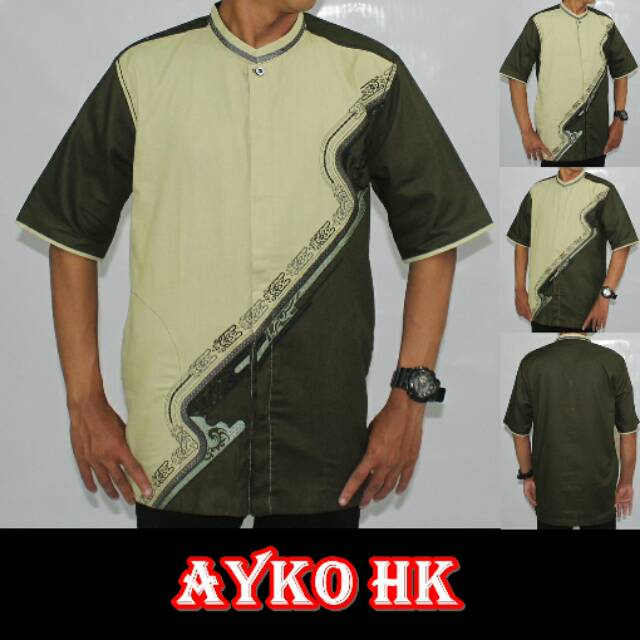 Baju Koko Pria Dewasa Bordir Terbaru-Ayko HK 121