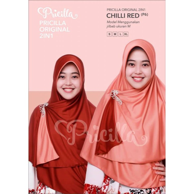 Jilbab Bolak Balik 2 Warna Pricilla (Chilli Red)