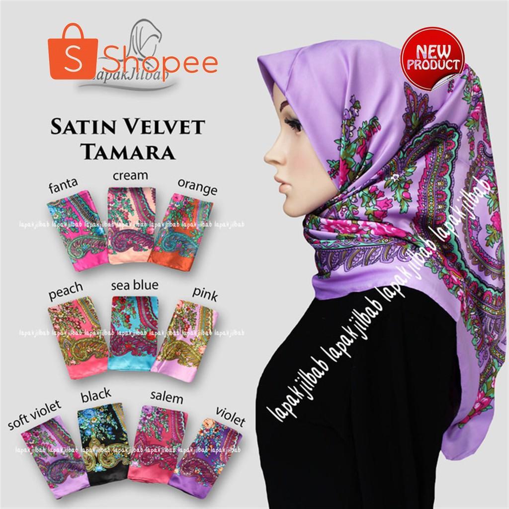 Hijab Segi Empat Murah Meriah Satin Velvet Motif Bunga Tamara Bahan Halus