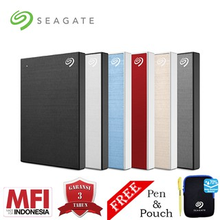 Seagate New Backup Plus Slim Hardisk Eksternal 1TB USB3.0 + Pouch dan Pen