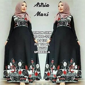 Gamis Muslim Hitam Umbrella Busui Jersey Astria / Maxi Dress Klok Motif Murah