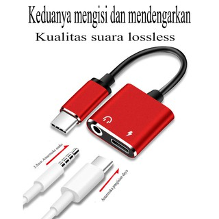 2 in 1 Dual Type C Adapter Mengisi Kabel Audio Charge Earphone Untuk Android