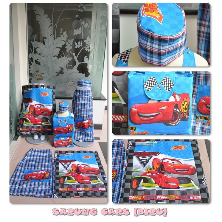 Promo Ramadhan Sarung Anak Cars Biru / Mcqueen Size S Murah