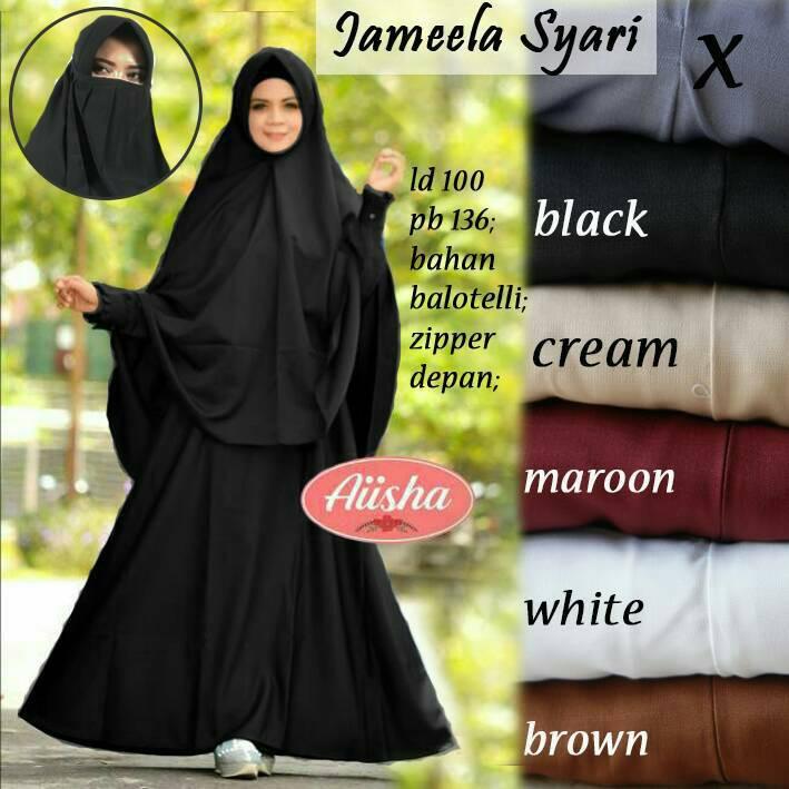 HJ1756 Busana Muslim Gamis Jameela Set Syari Longdress Maxi Balotelly Polos + Khimar Jumbo