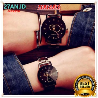 (27AN.ID)Jam Tangan Couple JT27  Pair Student Couple Stylish Spire Glass Steel Band Quartz Watch