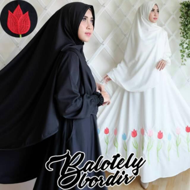 ORIGINAL! BALOTELY BORDIR SYARI gamis hijab maxi dress busui