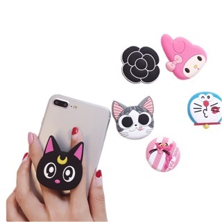 3D Cartoon Pop socket Mobile Phone Holder Stand Cute Cat Lazy Stent Pink Panther Cute Doraemon Cat