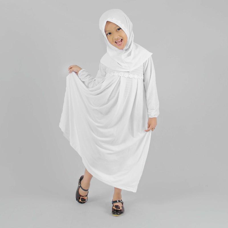 HJ502 Busana Muslim Baju Muslim Gamis Anak Perempuan Warna Putih Lucu Simple