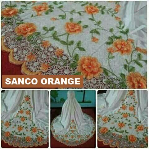 Mukena SANCO Orange + Tas – Sutra Prada Impor