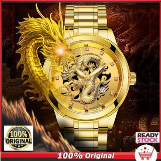 BOSCK Luxury Jam Tangan Pria 3D Gold Dragon Quartz Perhiasan  Stainless Steel Watch