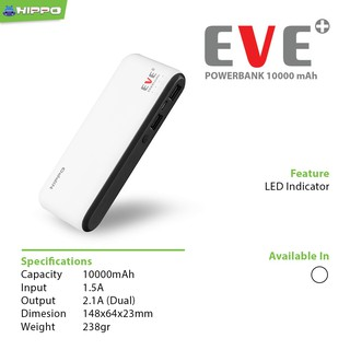 Hippo Power Bank 10000MAH EVE PLUS Simple Pack