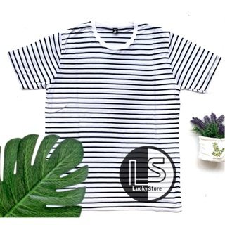 Kaos Stripe PUTIH DOMINAN Cotton Rayon