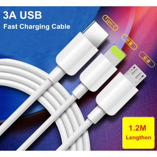 3in1 Kabel Charger Fast Charging 3A Micro USB / Lightning / Type-C