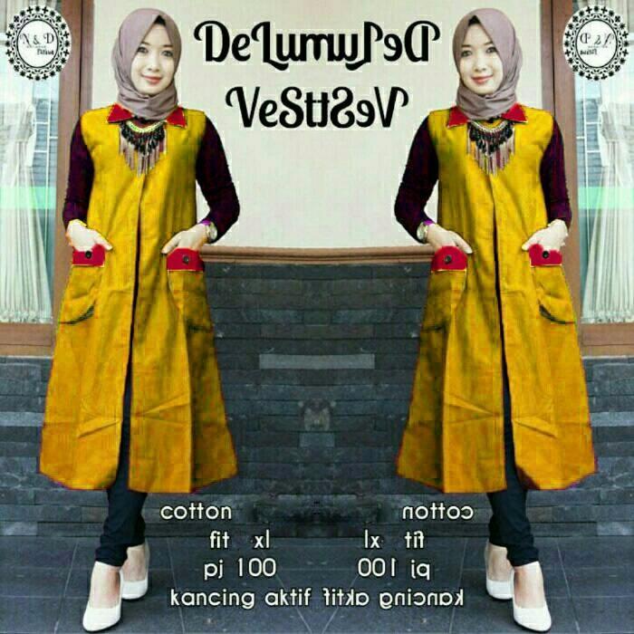 New Vest Deluna Navy Baju Atasan muslim fashion muslim wanita MURAH