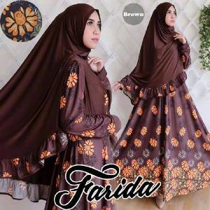 TERLARIS  Pakaian Muslim Baju  Gamis Syari  Farida Brown
