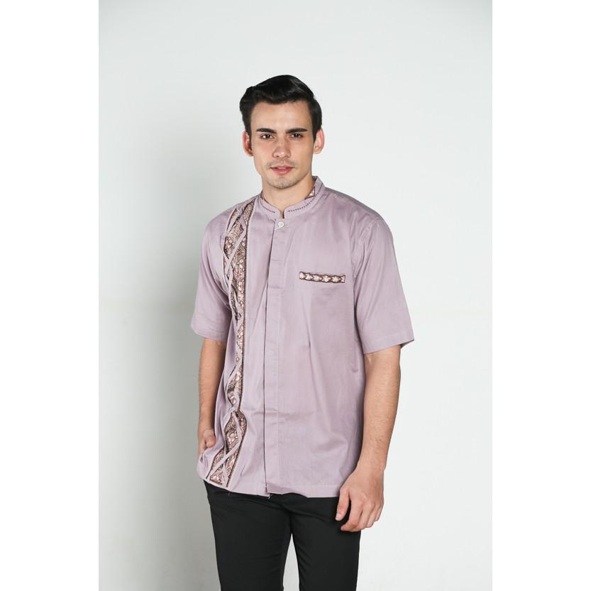 DEKAT LEBARAN Baju koko batik, busana muslim pria kualitas premium TN 38 ungu muda
