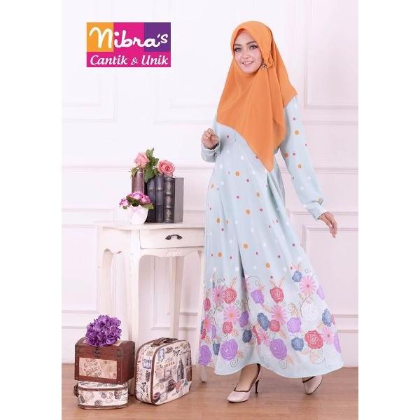 NEW Baju Dress Muslim Murah Nibras NS 18 Biru (ORIGINAL) Baju Gamis Syari