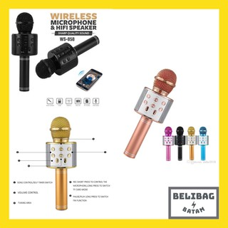 PROMO!!! MIC WSTER WS 858 Wireless Bluetooth Karaoke speaker Microphone portable Smule ws858 karoke