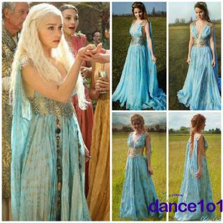 Gaun Maxi Wanita Motif Game of Dragons Game of Thrones Daenerys Targaryen untuk Halloween