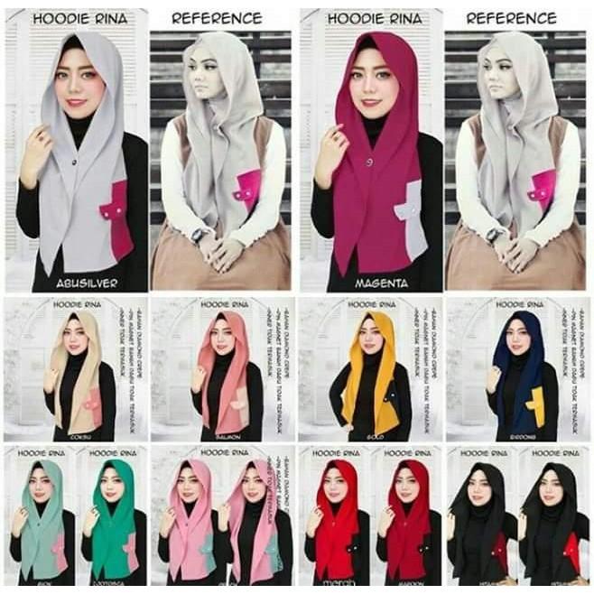 Diskon 100% Hijab Jilbab Bergo Kerudung Pashmina Instan Hoodie Rina Spesial Ramadhan
