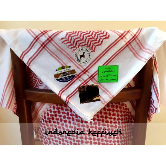 Keffiyeh, Sorban, Shemagh (Exclusive) White Red