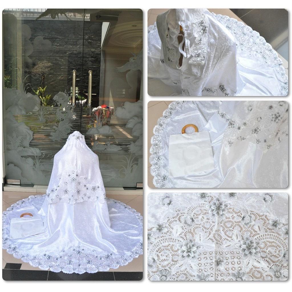 Mukena Bordir Semi Sutra Susun Tanjung Putih Putih Plus Tas