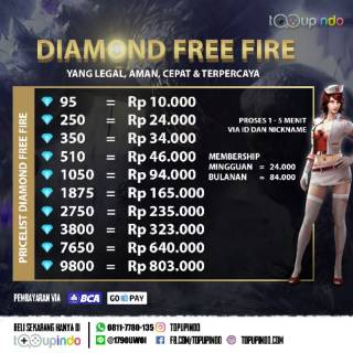DIAMOND FREE FIRE VIA ID BISA SAMBIL MAIN MINI