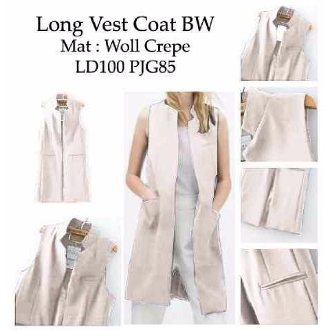 DIORDER KK!!! [Long Vest Coat SW] vest wanita woll crepe broken white