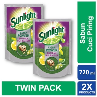 Sunlight Extra Power Butiran Biji Zaitun Pouch 720Ml Twin Pack