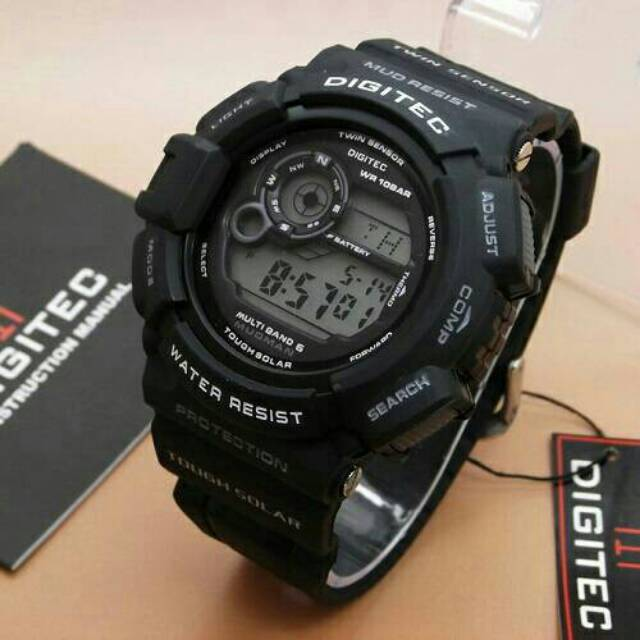 JAM TANGAN PRIA BEST SELLER DIGITEC MUDMEN WATERRESIST BLACK SERIES