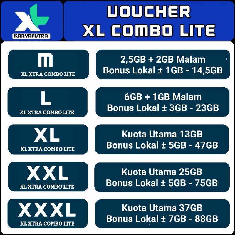 VOUCHER XL COMBO LITE 1GB 2GB 3GB 4,5GB 7GB 13GB 25GB 37GB HOTROD XTRA PLUS MINI