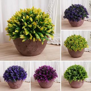 Artificial Flower Plant Landscape Ornaments Vintage Round Ceramic Pot Home Decor