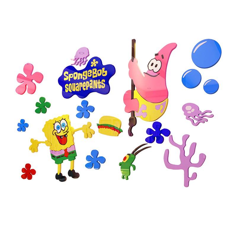 Stiker Dinding Motif Kartun Spongebob Squarepants 3d Untuk Dekorasi Tk Shopee Indonesia