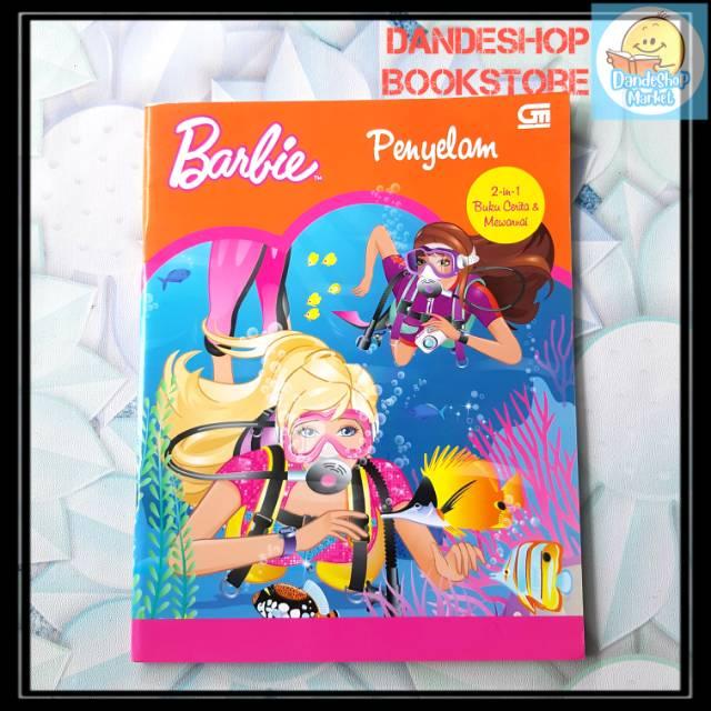 Barbie Penyelam Buku Cerita Dan Mewarnai 2 In 1 Shopee Indonesia