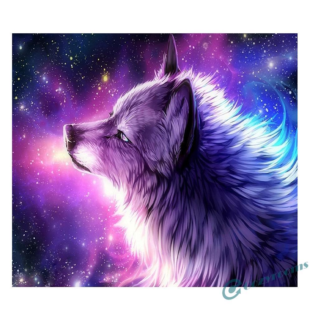 CO Lukisan Diamond 5D DIY Gambar Serigala Warna Ungu Ukuran 35x30cm