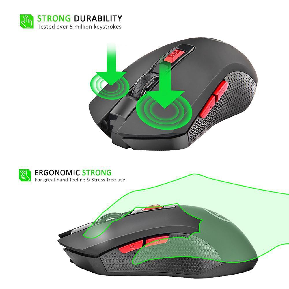 2.4G Wireless Gaming Mouse 2400DPI 6 Buttons Optical Mice w// USB Receiver For PC