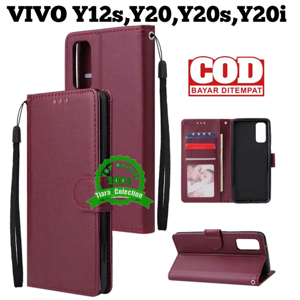 CASE VIVO Y20 Y20i Y20s (G) 2021 Y12s CASING HP COVER HP UNTUK VIVO LEATHER FLIP CASE PREMIUM