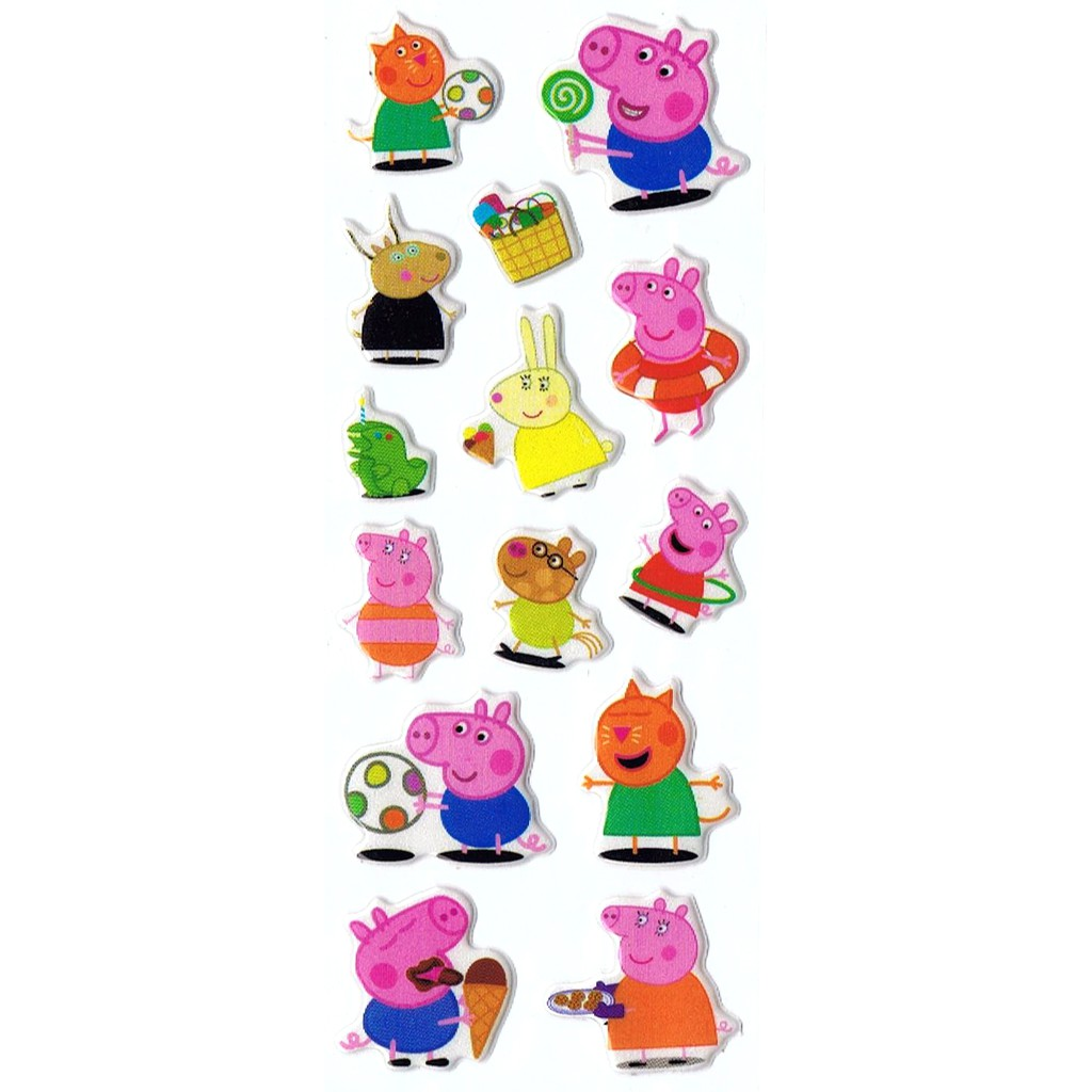 SK368 Stiker Sticker Timbul Set Strip Aneka Gambar Kartun Peppa Pig