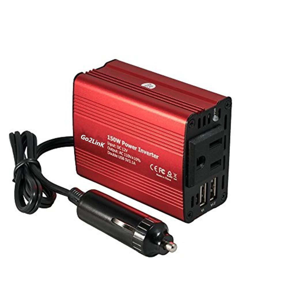 150W Car Power Inverter DC 12V to AC 110V 3 Plug w// USB 2.1A Charger Adapter