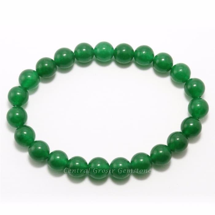 1PCS 100/%  natural Green Jade  6mm round beads bracelet