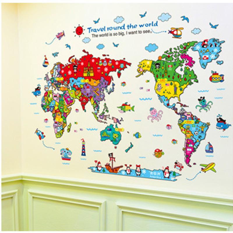 Dekorasi Rumah: Stiker Dinding DIY Gambar Binatang Di Peta