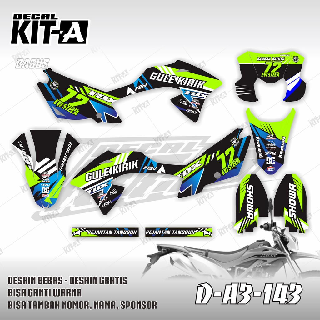 Decal stiker klx bf 150 hijau stabilo fluo dekal striping sticker klx 150 bf a3 143
