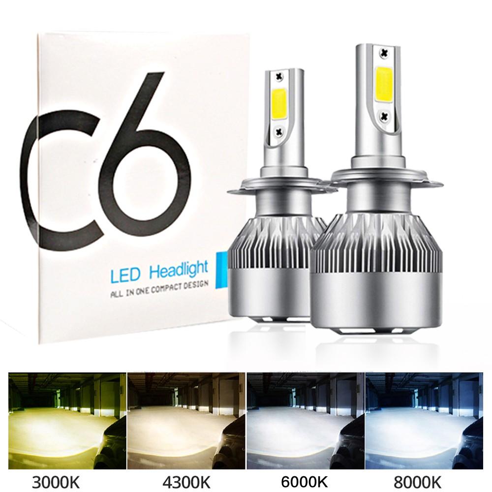 Lampu Depan Mobil Led C6 H4 H7 H11 H1 Hb3 H3 9005 9006 Hb4 Cob 3000k 4300k 600k Shopee Indonesia