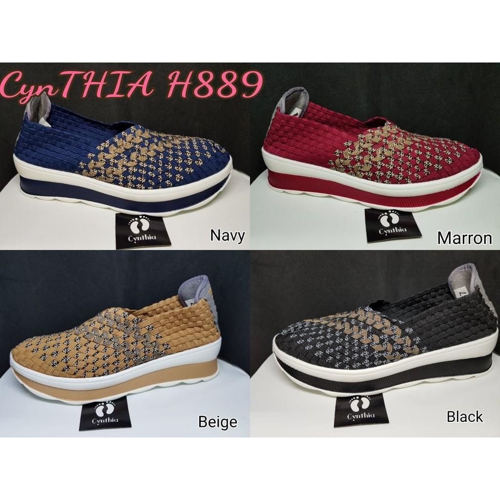 (PROMO) Sepatu Rajut Anyaman Original Cynthia Wedges H6300   Shopee Indonesia